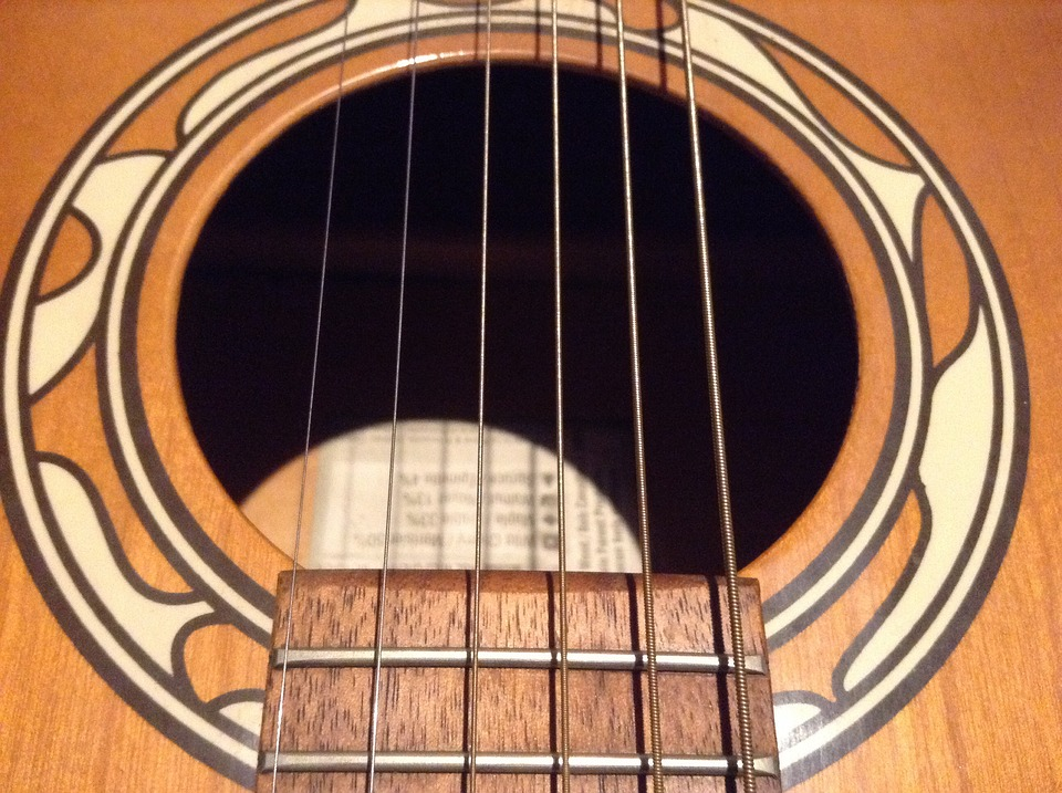 a round sound hole of the guitar