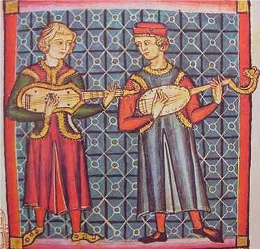medieval painting of two types of guitars from the 13th century