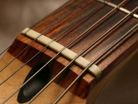 a guitar nut that sets the spacing of the strings apart from each other