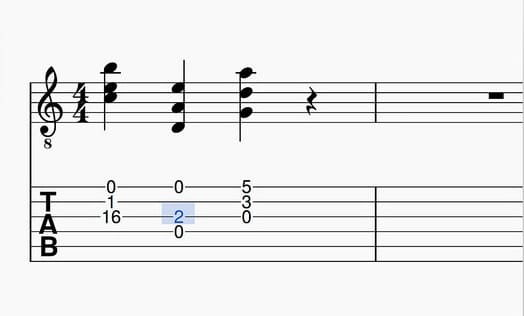 a guitar tabulature or writing system for guitar music