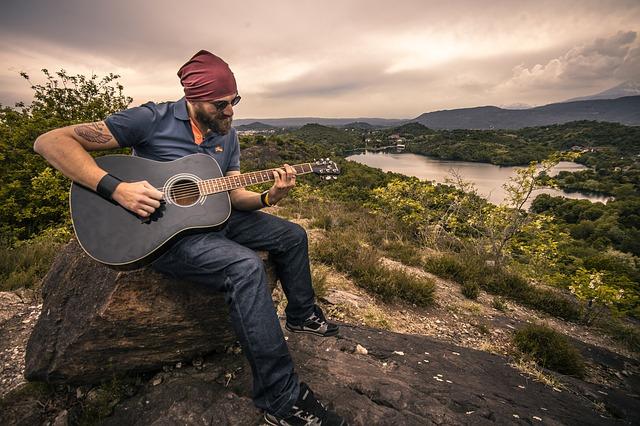 guitarist on beautiful location