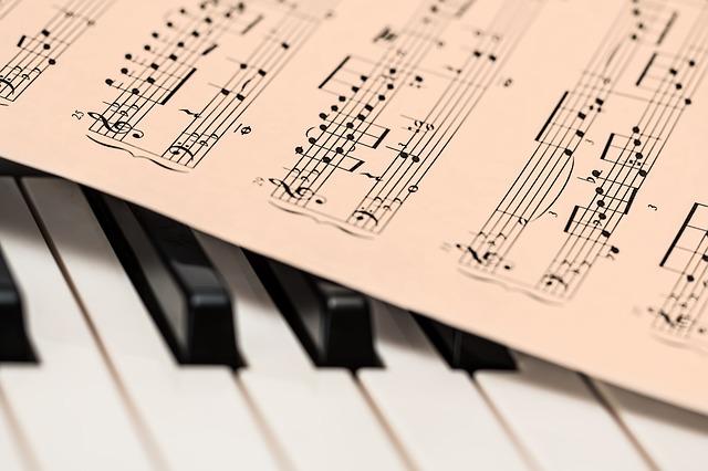 music score on piano